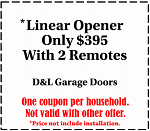 Linear opener with 2 remotes only $395